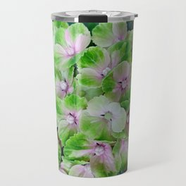 beautiful hydrangea floral background in green and pink colors Travel Mug