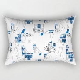 Robot Girl Cubism Rectangular Pillow