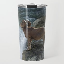 Big Horn Sheep & Rocky Mountain Waterfall Travel Mug