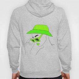 Lime Green Fashion Portrait Illustration Hoody