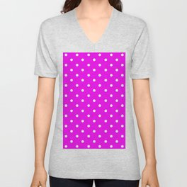 DOTS (WHITE & FUCHSIA) Unisex V-Neck