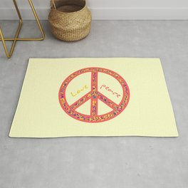 Peace and love, colorful and groovy hippie sign, 60's symbol of freedom Rug