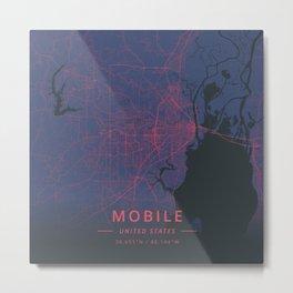 Mobile, United States - Neon Metal Print