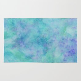 Teal and Blue Tropical Marble Watercolor Texture Rug