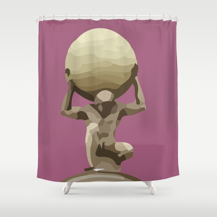 Man with Big Ball Illustration pink Shower Curtain