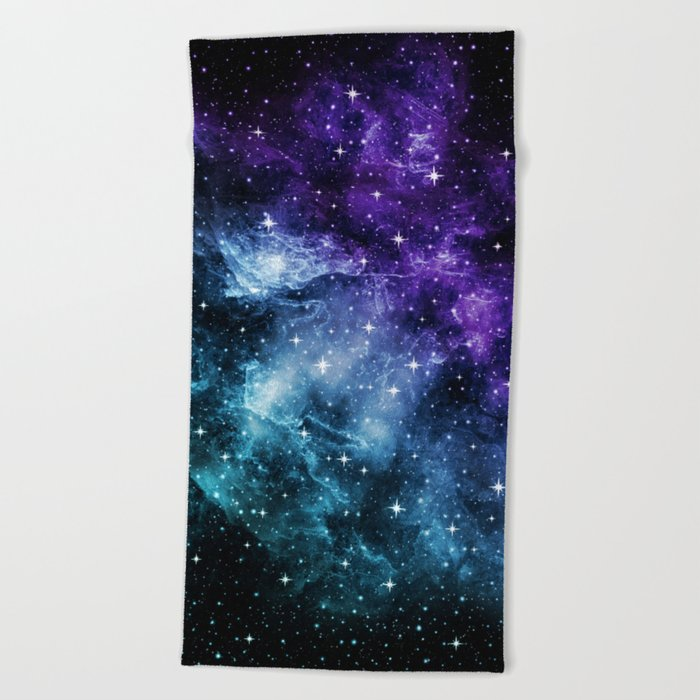 Purple Teal Galaxy Nebula Dream #1 #decor #art #society6 Beach Towel