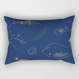 Hand Drawn Marine Life Rectangular Pillow