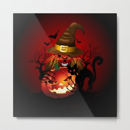 Skull Witch Creepy Halloween Metal Print