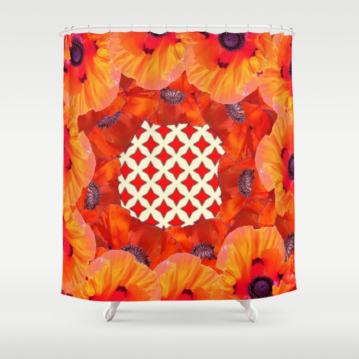 Modern Red Orange Poppy Flowers Garden Vignette White Design Shower Curtain