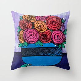 Bowl of Roses Throw Pillow