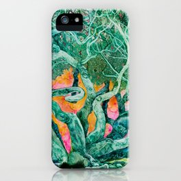 Green Tree and Sunset Watercolor iPhone Case