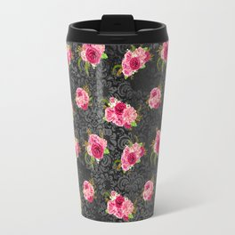 Pink & Black Floral Pattern One Travel Mug
