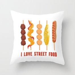 I love street food Throw Pillow