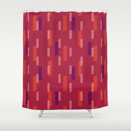 pixel brick geometric pattern_hibiscus Shower Curtain
