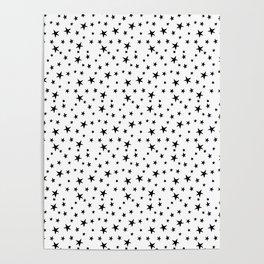 Mini Stars - Black on White Poster