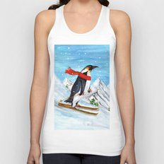 Penguin Alpine Skiing Unisex Tank Top