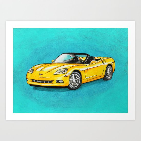 Yellow Corvette Art Print