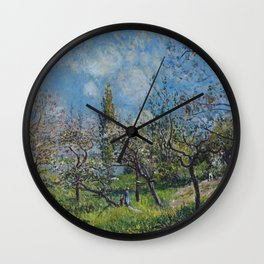 Alfred Sisley - Orchard In Spring Wall Clock