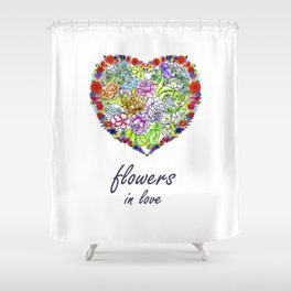 Flowers in Love #Artlove Shower Curtain