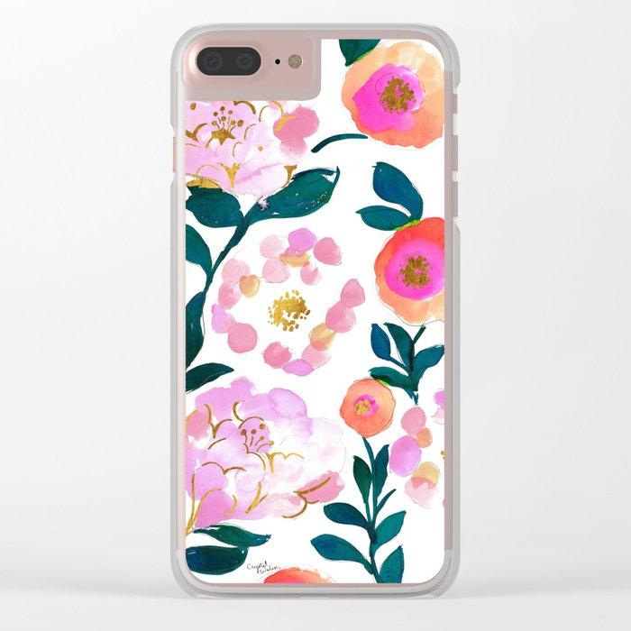 Pretty Pink Flora Clear iPhone Case