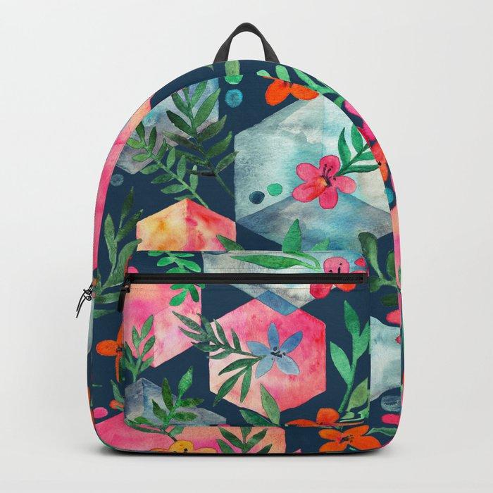 Whimsical Hexagon Garden on Blue Backpack