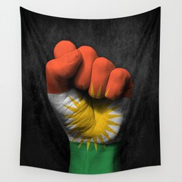 Kurdish Flag on a Raised Clenched Fist Wall Tapestry