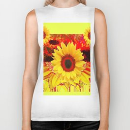RED & YELLOW SUNFLOWERS MODERN ABSTRACT Biker Tank