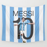 argentina Wall Tapestries featuring Lionel Messi Argentina 10 Print by graphics17