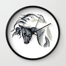 Gray Horse in ink Wall Clock