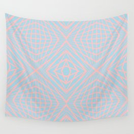 geometric, pink on blue Wall Tapestry