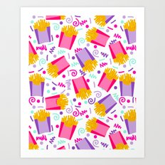 French Fries junk food party time razzle neon bright happy fun kids children pop art pattern foods Art Print