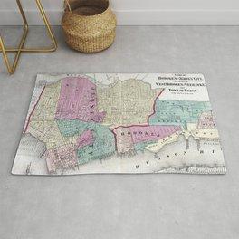 Vintage Map of Jersey City, Hoboken & Weehawken NJ Rug
