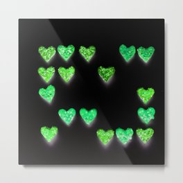 Green Glow Neon Glitch Pop Art Hearts Metal Print