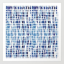 Shibori Braid Vivid Indigo Blue and White Art Print