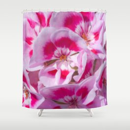 Red And White Flora Shower Curtain