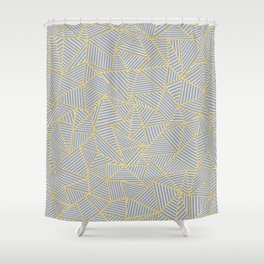 Ab Outline Gold and Grey Shower Curtain