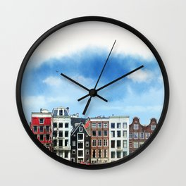Embankments of Amsterdam. The Netherlands. Wall Clock