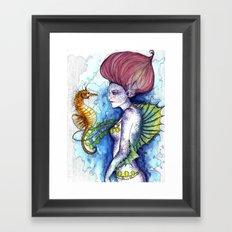 the seahorse's friend Framed Art Print