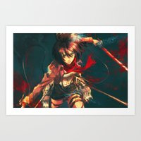 mikasa Art Prints featuring Worth a Hundred Soldiers by Alice X. Zhang