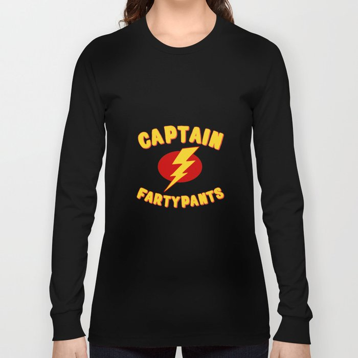 bab42faa4 Captain Fartypants Funny Fart Long Sleeve T-shirt by djhemp | Society6