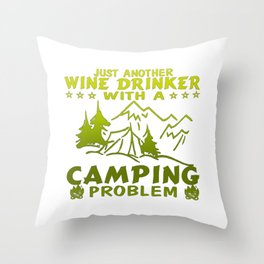 Wine & Camping Throw Pillow