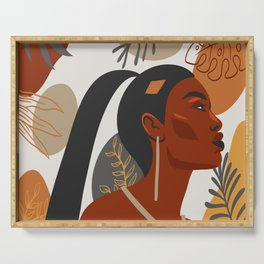 Hand drawn abstract portrait of beautiful african american girl,  monstera leaves background Serving Tray