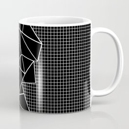 Abstract Grid Outline White on Black on Side Coffee Mug