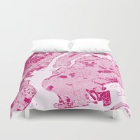 new york map Duvet Covers featuring New York Map - Magenta by PinkMaps
