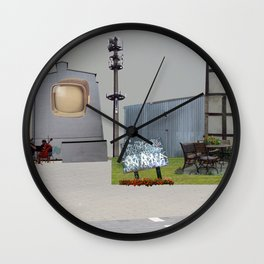 unreal-illusion city collage 13 Wall Clock