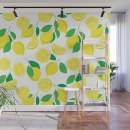 Lemons, tropical pattern Wall Mural