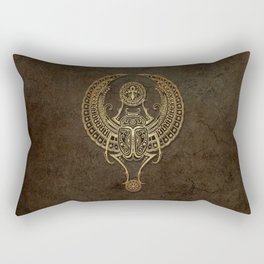 Stone Winged Egyptian Scarab Beetle with Ankh Rectangular Pillow