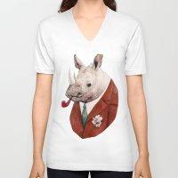 rhino V-neck T-shirts featuring Rhino by Animal Crew