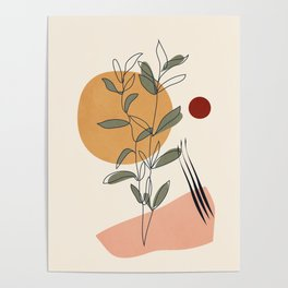 Minimal Line Young Leaves Poster