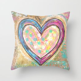 blue and pink hearts Throw Pillow